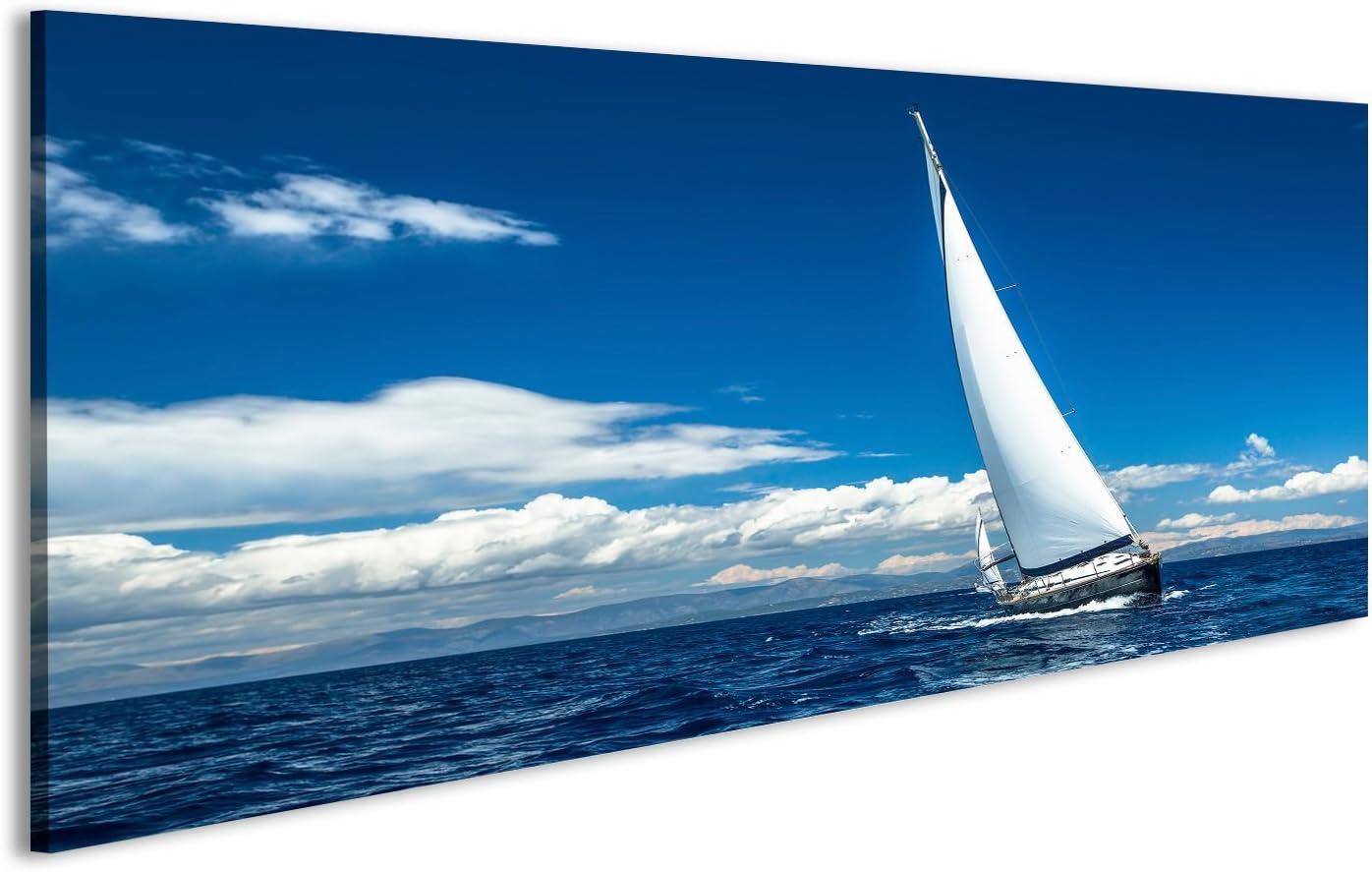 islandburner Cuadro Cuadros Navegación. Nave de Yates con Velas Blancas en mar Abierto. Barcos Lienzo Formato Grande Listo para Colgar estupendo