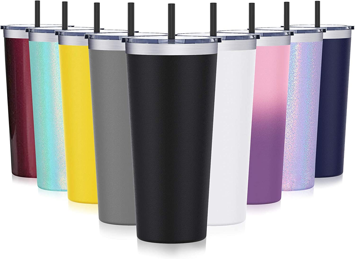Travel Tumbler with Splash Proof Lid, Aikico 22oz Vacuum Insulated Coffee Tumblers Cups, Double Wall Travel Mug with Straws, Keeps Drinks Cold & Hot, Black