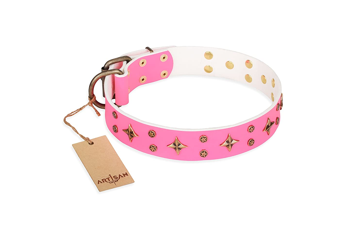 36 inch 36 inch Pink Leather Dog Collar with Brass Plated and Fake Silver Decor  Trendy Stars  Handcrafted by Artisan