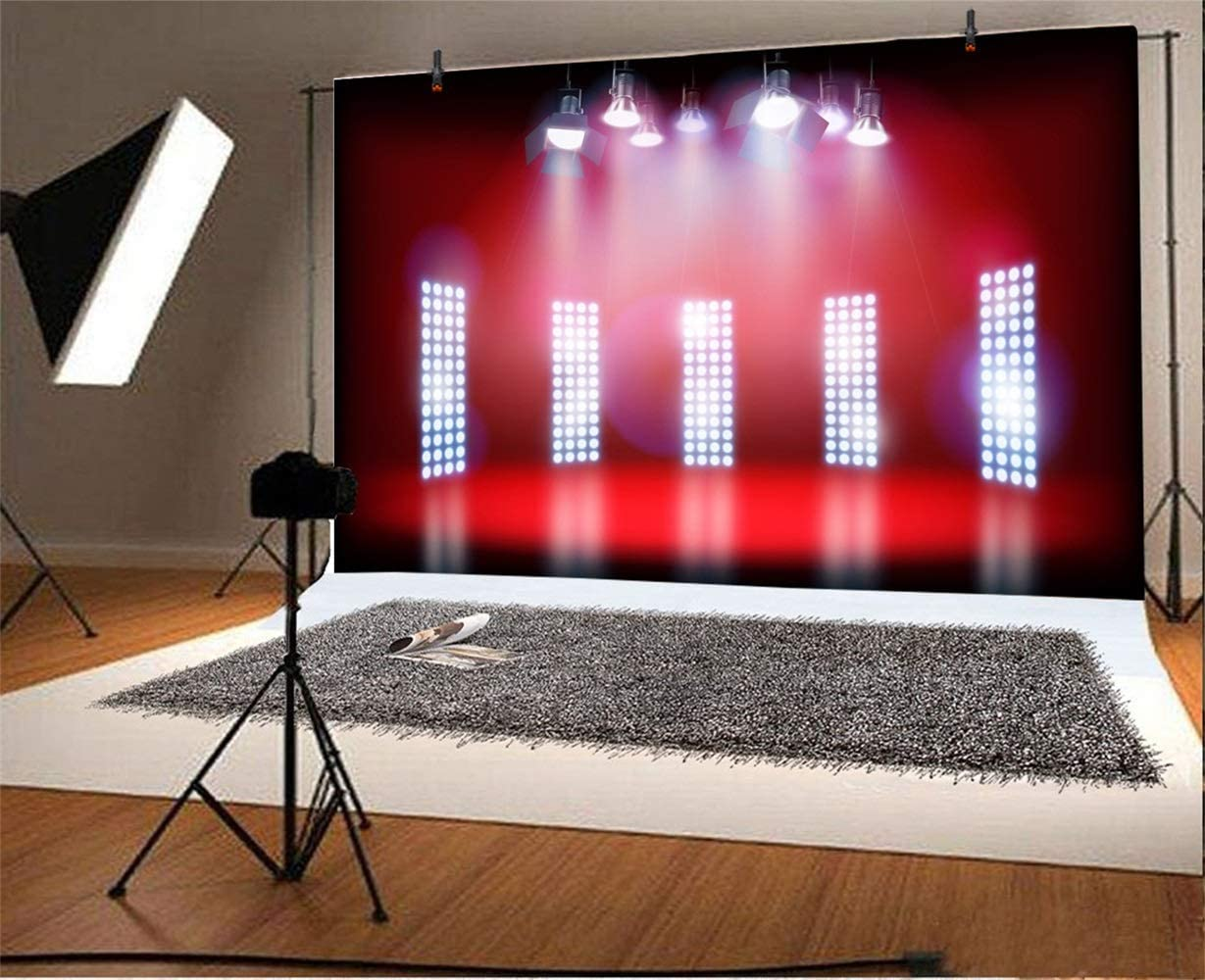 10x6.5ft Bright Red Stage Backdrop Vinyl Bright Spotlights Shiny Bar Lights Red Floor Photography Background Performance Live Show TV Programming Banner Singer Shoot Studio Props