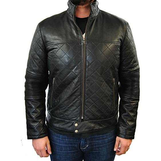 Mens Quilted Leather Jacket at Amazon Men's Clothing store: : quilted leather jacket mens - Adamdwight.com
