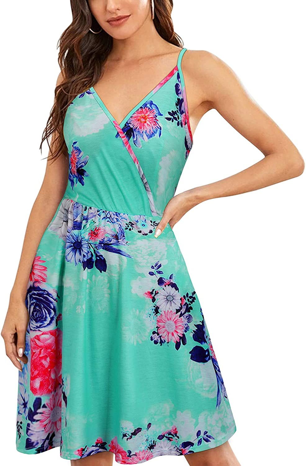 VOTEPRETTY Womens V-Neck Floral Spaghetti Strap Dress Summer Casual Swing Sundress with Pockets