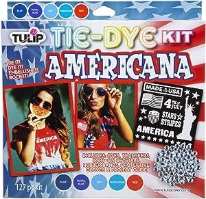 Tulip One-Step Tie-Dye Kit Americana Tie Dye, 5 Color Trend, Red, Blue