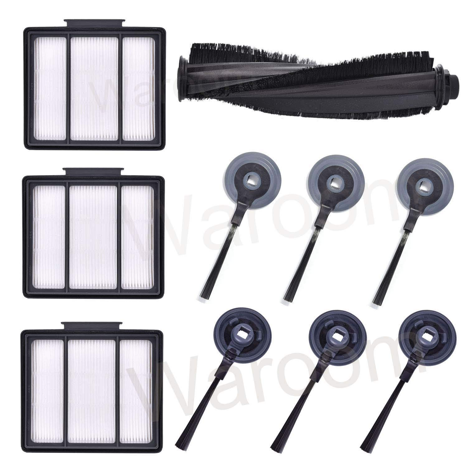 Waroom Vacuum Cleaner Replacement Brushes and Filters for Shark ION Robot RV700_N RV720_N RV750_N RV850 RV850BRN RV851WV RV850BRN/WV, Include 6 Side Brushes+ 3 Pre-Motor Filter+ 1 Main Brush
