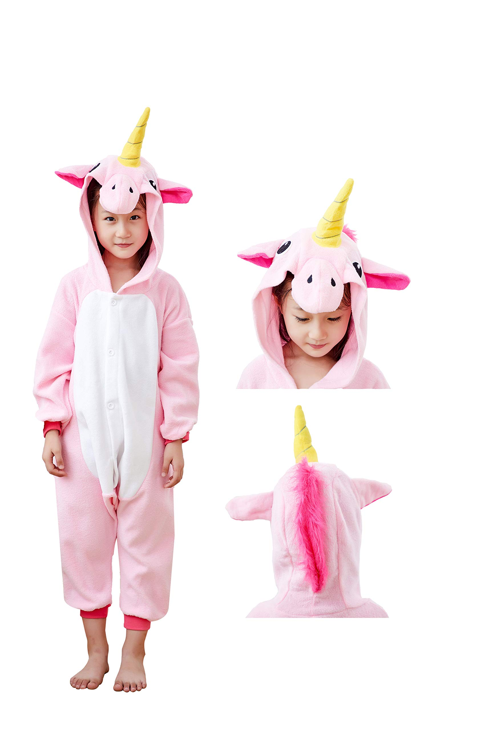 Mybei Unisex Kids Unicorn Onesie Cosplay Pajamas,Fleece One Piece Animal Costume for Boys Girls 4-6