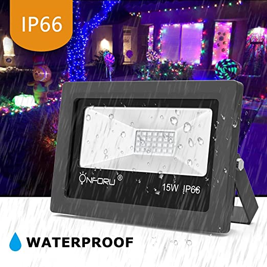 Onforu 2 Pack 15W UV LED Black Light, Ultraviolet Outdoor Flood Light, IP66 Waterproof with Plug for Dance Party, Stage Lighting, Glow in The Dark, ...
