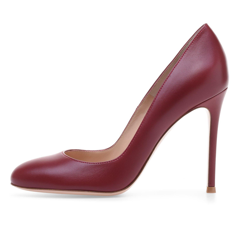 ELASHE - Zapatos de tacón -Clásicas Tacones Altos - 10cm Zapatos de Tacón para Mujer 44 EU|Burdeos