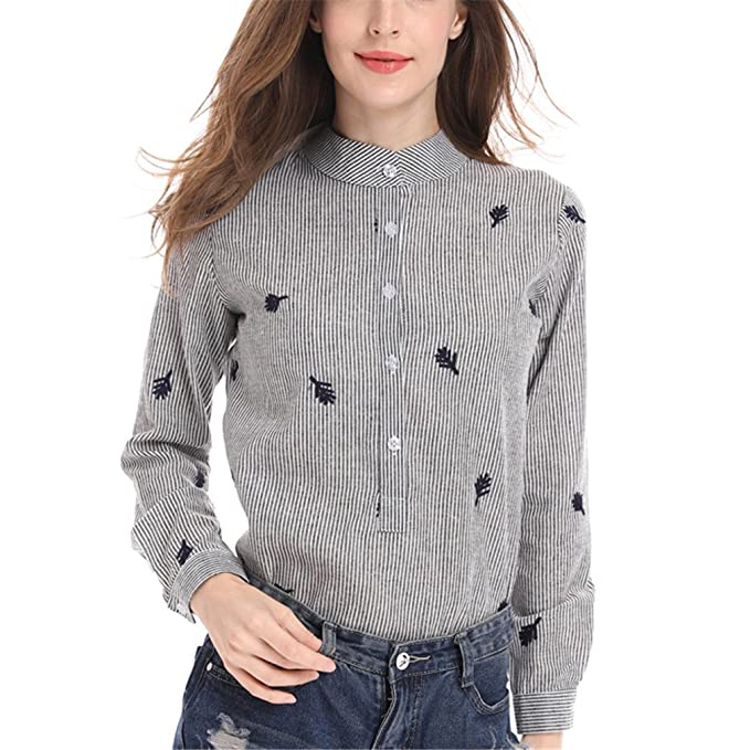 a7bb4b08a6 Women Blouse Stripes Tops Big Size Women Clothing Embroidery Cardigan  Blouses Long Sleeves Women Clothes Photo