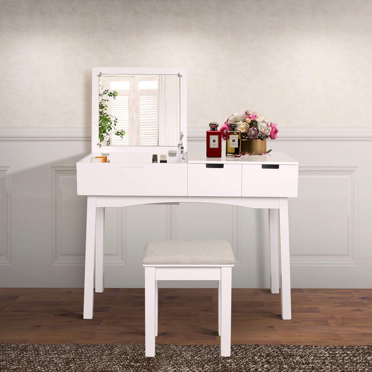 Vanity Beauty Station, Dresing Table Vanity Set with Flip Top Mirror,1 Large Organization 2 Drawers Makeup Dresser, Writing Desk (White Flip Mirror)