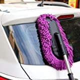Kurtzy Car Mop Brush Micro Fiber Duster Vehicle Cleaning Cloth Smooth Bristles Long Handle for Interior & Exterior Use