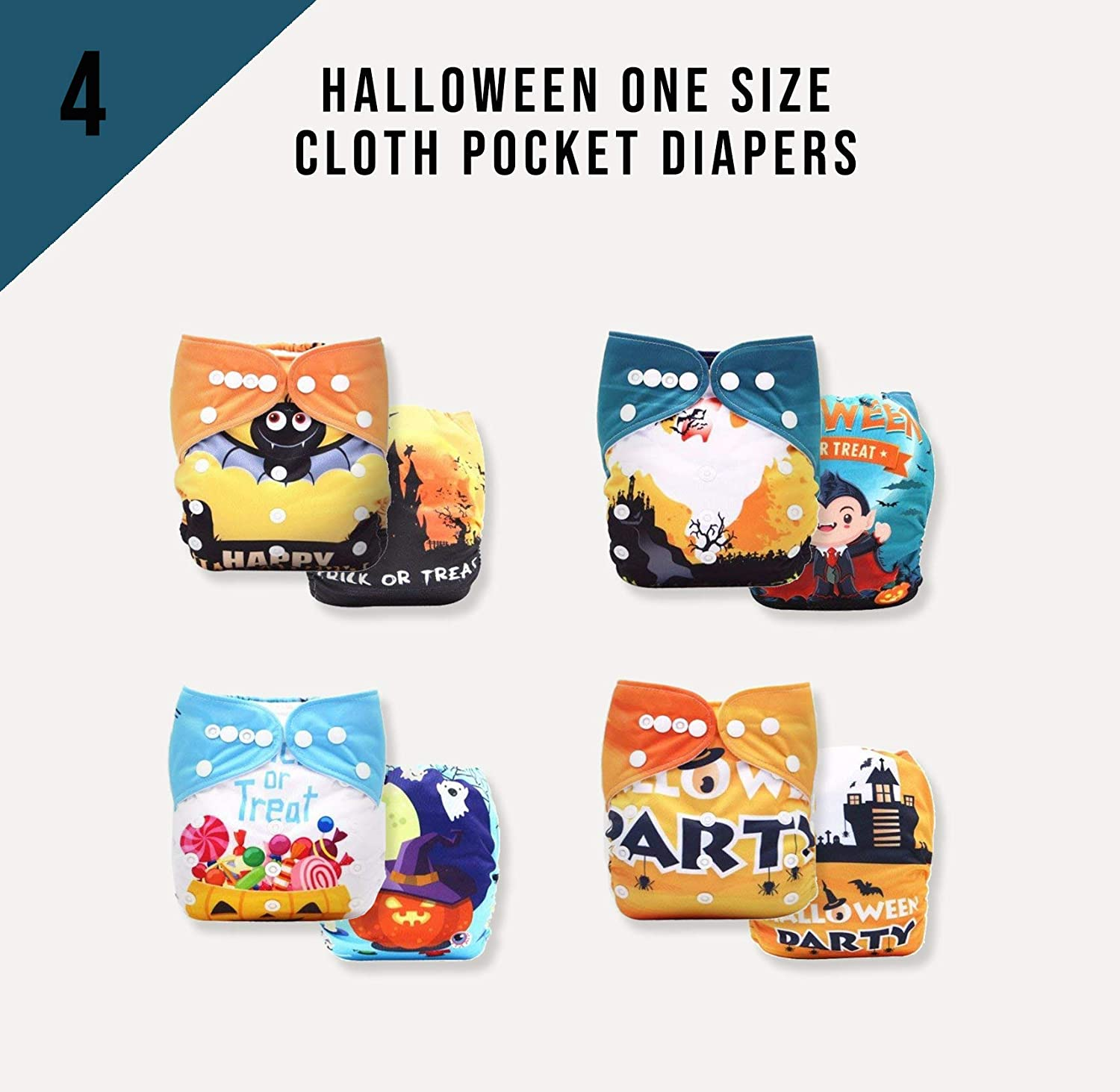 A Pack of 4 KaWaii Baby Halloween One Size Cloth Pocket Diapers + 8 BAMBOO CHARCOAL Inserts Luvyourbaby Products