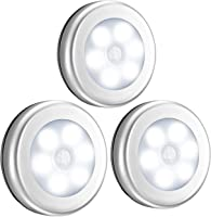 VicTsing 【3 Piezas】Sensor de movimiento ligero, sensor de movimiento con batería LED Night Light, Closet Light, Light Stairs, Stick-Anywhere Safe con aplique de pared para cocina, baño, pasillo, dormitorio, garaje, sótano-Blanco