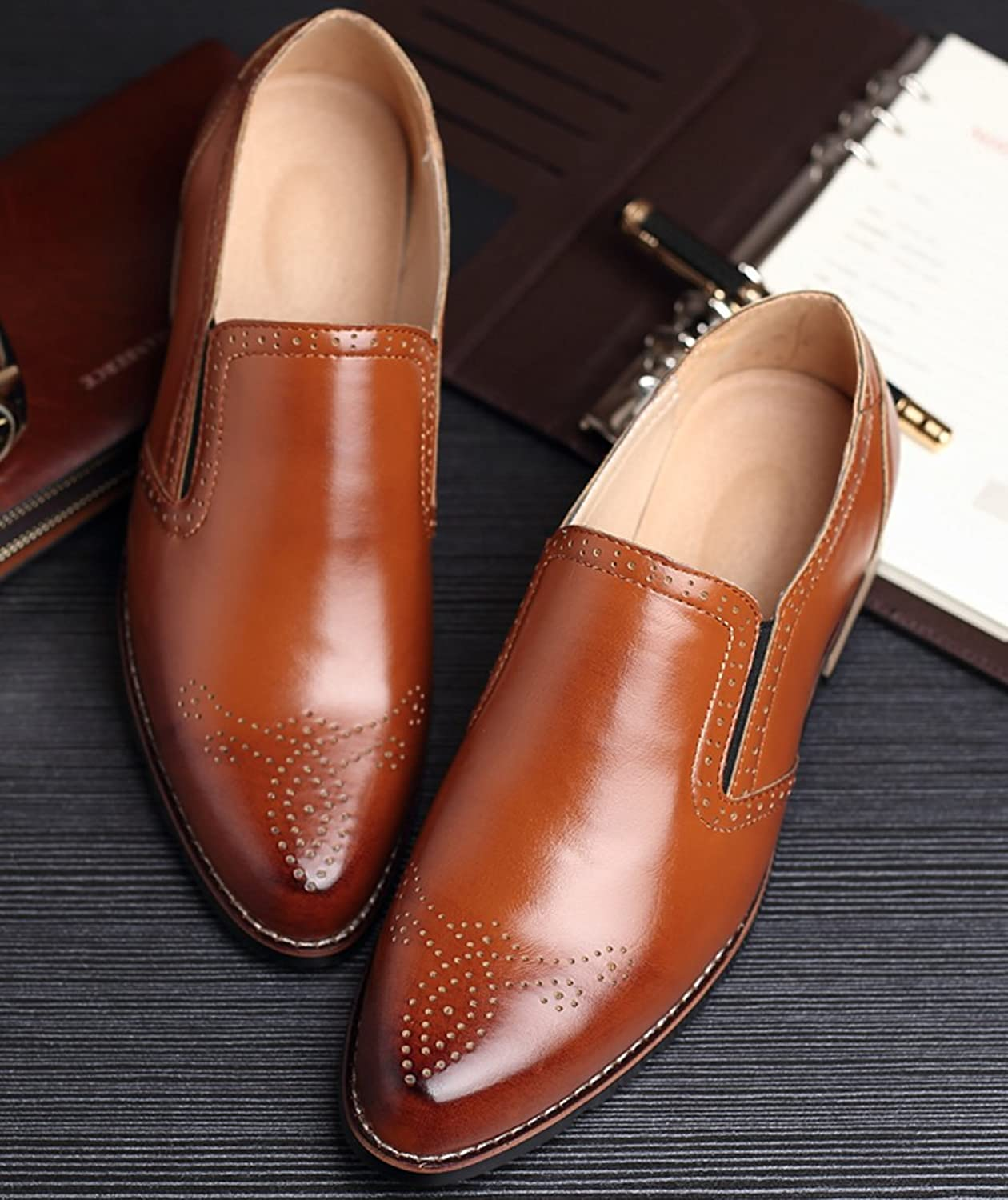 Dress Shoes Loafers Mens Retro Brogue Wing Tips Slip on Formal Oxford by Santimon  Tan: Amazon.ca: Shoes & Handbags
