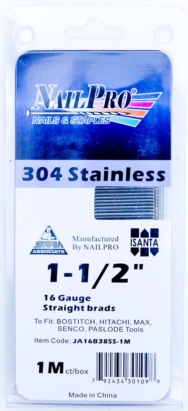 NailPRO 16 Ga x 1-1/4'' Stainless Steel Finishing Nails, 1000 Count (1-1/2'')