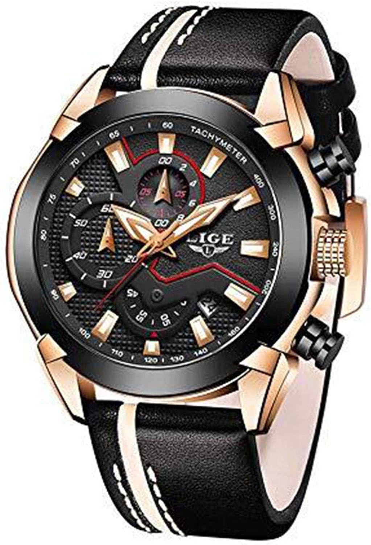LIGE Hombres Relojes Militares Impermeables Deportes Al Aire Libre Multifuncional Reloj de Pulsera de Cuarzo Snalógico Cronógrafo Moda Casual Fecha