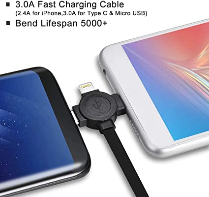 American Sign Language USB Charging Cable 3 in 1 Single Pull Retractable Fast Charger Cord Connector with Dual Phone//Type C//Micro USB Port Compatible for All Phones with Tablets