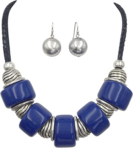 Round Black Glass Bead wSilver Daisy Bead NecklaceBracelet /& Earrings Set
