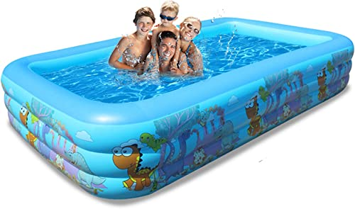 EasySMX Blow Up Pool, Family Full-Sized Inflatable Swimming Pool 103 x67 x21 , Safe Kiddie Pool, Lounge Pool for Kids Adults Toddlers Babies, Cute Swim Center Water Party for Outdoor Garden Backyard
