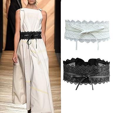 Imixcity 2 Pack Ceinture à Nouer Obi Dentelles pour Robe (Blanc   Noir,  220cm 11fb0e8adb6