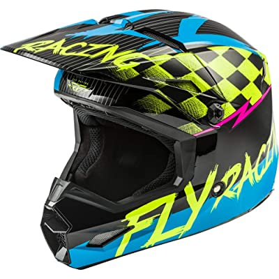 Fly Racing Black/Flo Yellow/Blue Sz S Kinetic Sketch Youth Helmet: Automotive