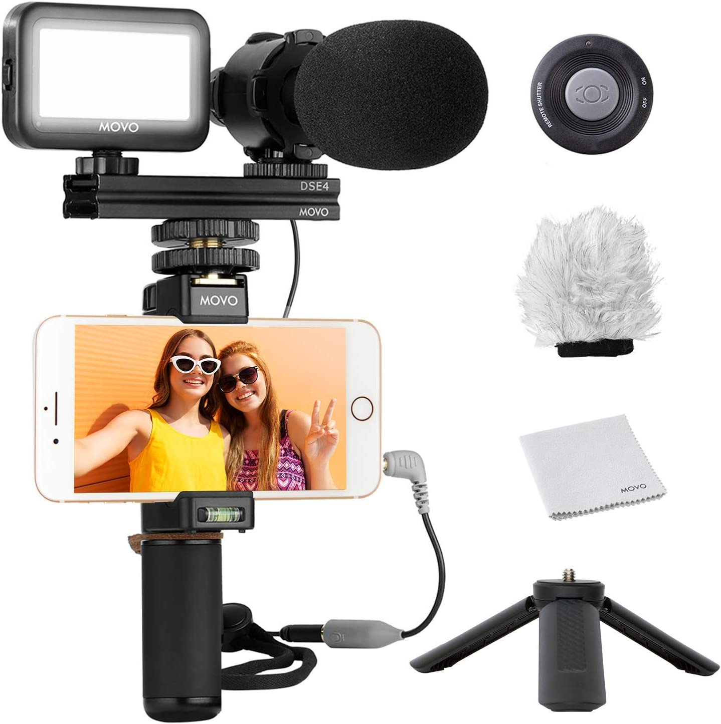 Movo Smartphone Video Kit V7 Vlogging Kit with Tripod Stereo Microphone Note Android Samsung Galaxy YouTube Equipment Compatible with iPhone Grip Rig LED Light and Wireless Remote