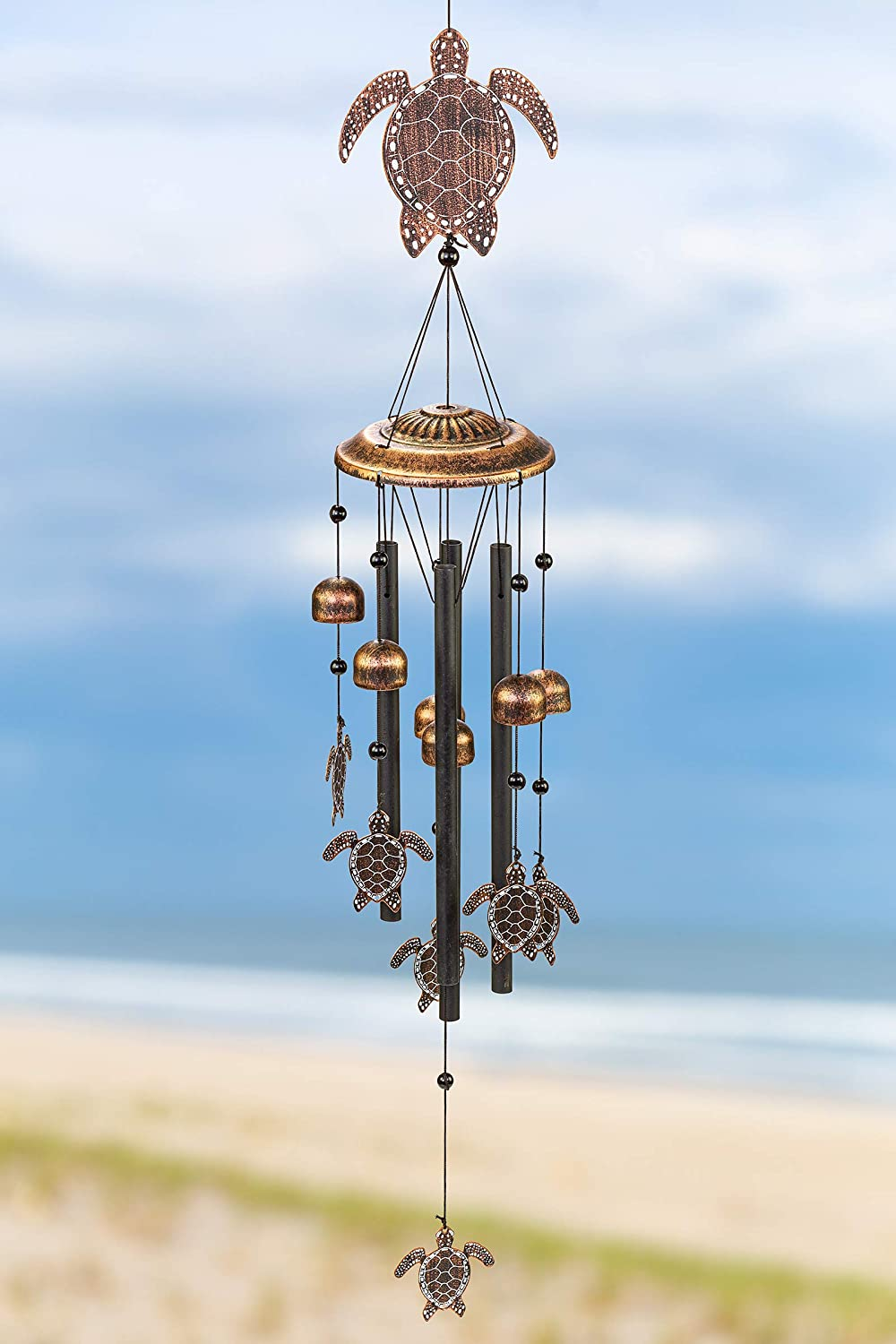 VP Home Sea Turtles Outdoor Garden Decor Wind Chime (Rustic Copper)