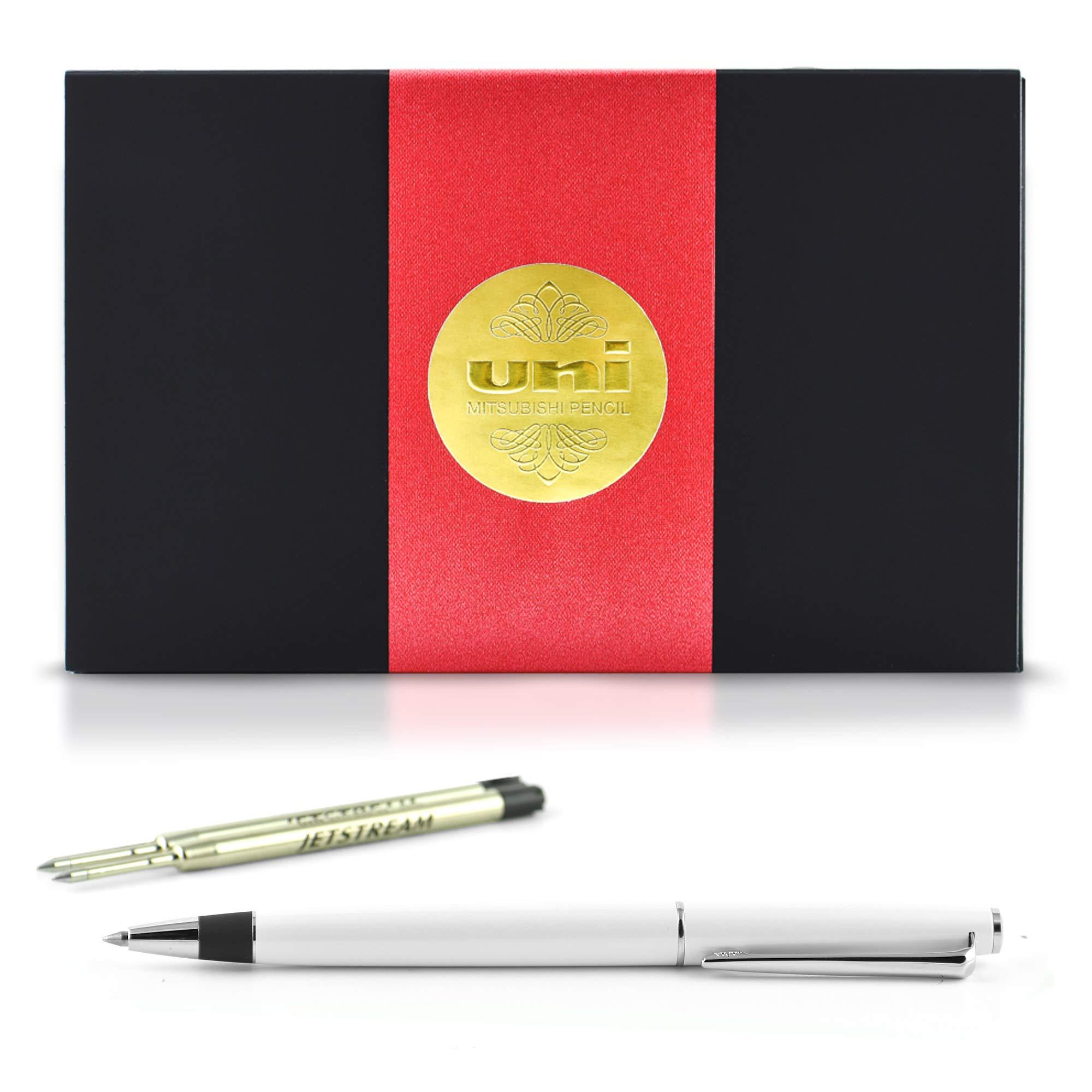 uni JETSTREAM PRIME TWIST - Includes one pen + two Parker Style refills (SXR-600-07) in Exclusive uni Gift Box (Pearl White)