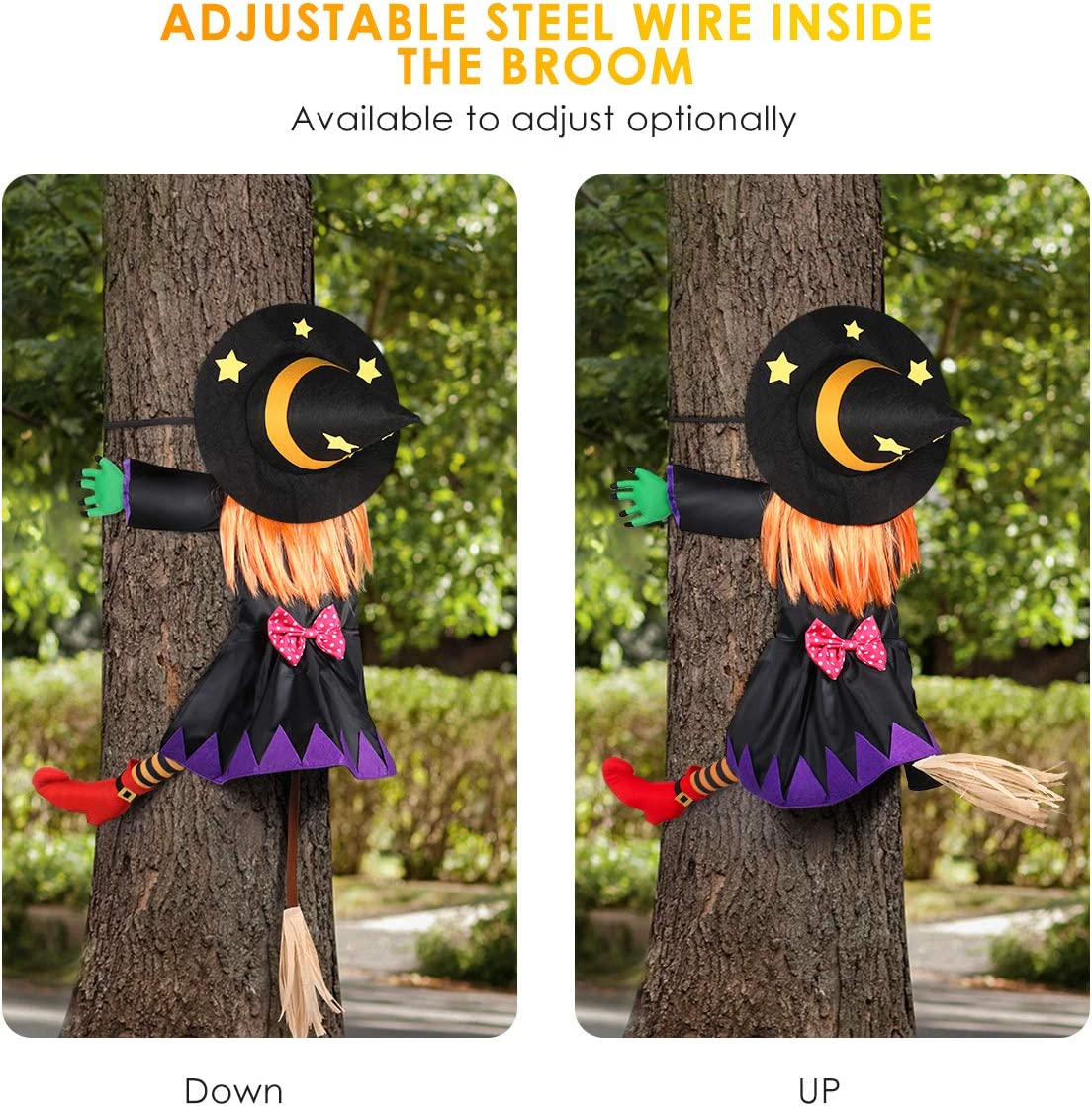Crashing Witch into Halloween Tree Decoration, Crashed Witch Props Halloween Hanging Witch Doll Decorations