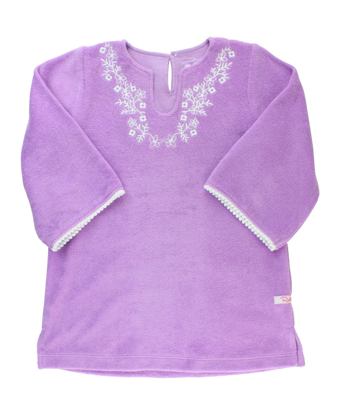 RuffleButts Little Girls Lilac Terry Tunic Long Sleeve Swimsuit Cover Up - 18-24m
