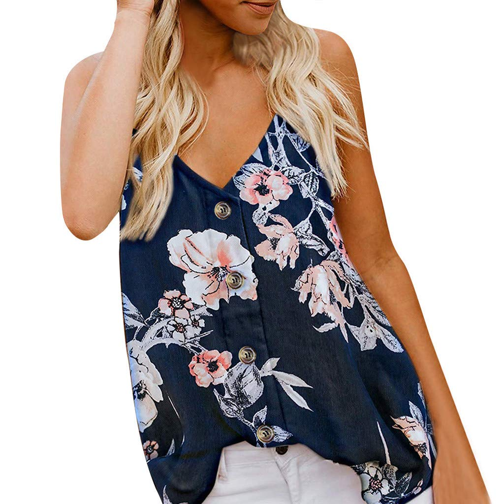 Women Sleeveless Blouse Summer Button Down Casual V Neck Tank Top Floral Print Shirt (S, Navy)