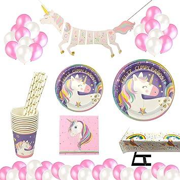 Decoraciones Unicornio y vajilla Rosa y Morado Unicorn Feliz Cumpleaños para niñas El Juego de 105 Piezas Incluye Platos, Vasos, Mantel, ...