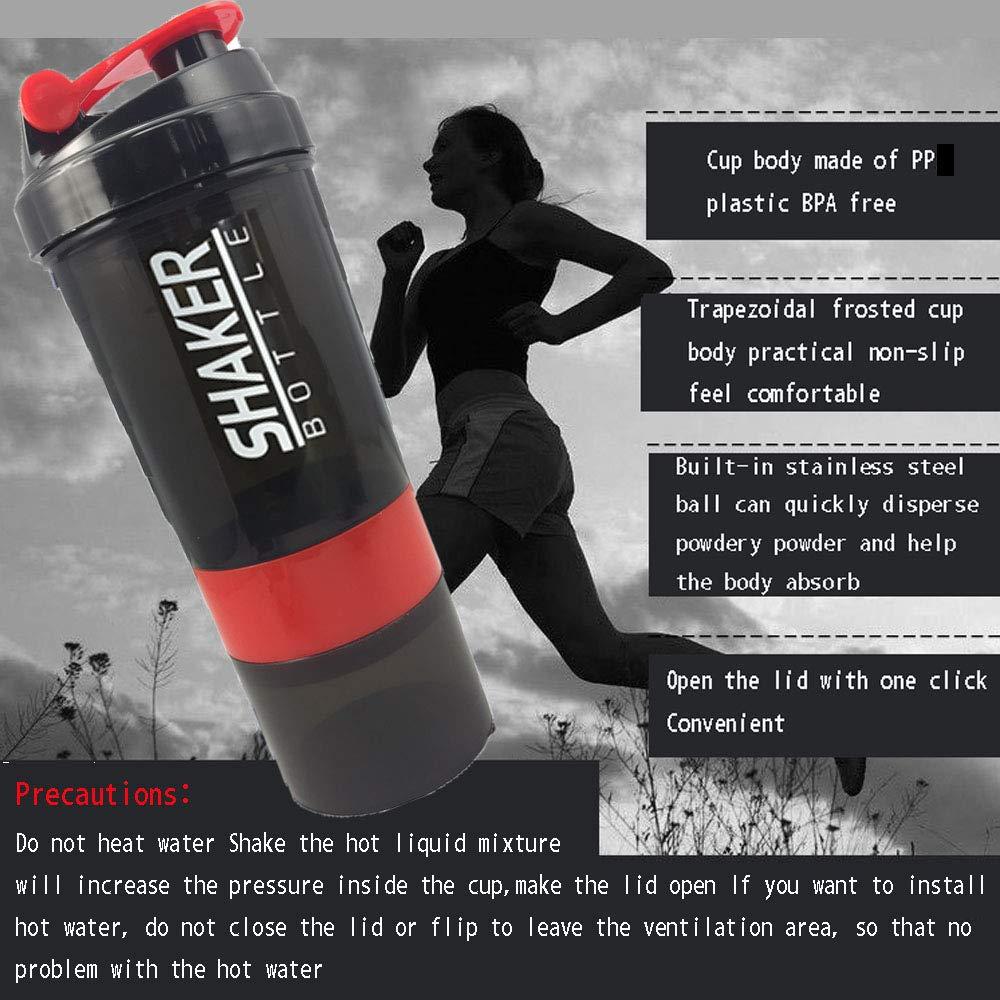 FMM Sports Shake Flasche Creative Protein Powder Shake Flasche Stark auslaufsicher 500ml Whey Protein Mix Gym Sports Shaker