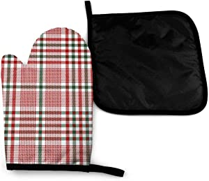 Lozeow Mitts Green Red White Tartan Plaid Scottish Oven Mitts Cool Oven Gloves and Pot Holders Heat Resistant Cooking Gloves Baking Gifts