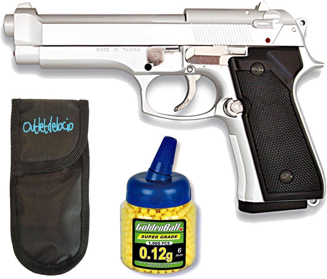 Outletdelocio. Pistola Airsoft MF-9S metálica. Calibre 6mm + Funda Portabalines + 1000 Bolas. 49615/21993/23054