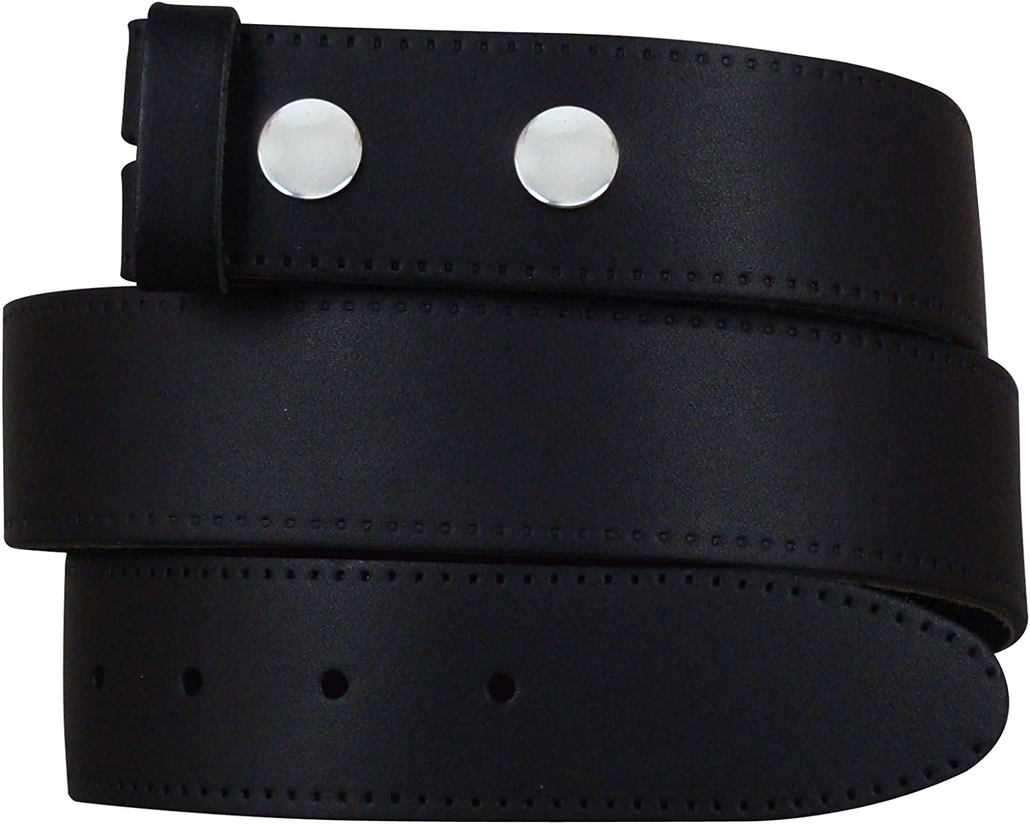 """52/"""" NEW MENS REAL LEATHER SNAP ON BELTS BLACK BROWN WHITE NO BUCKLE SIZES 28/"""""""