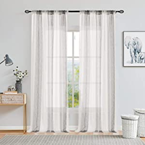 Central Park Sheer Gray and White Stripe Farmhouse Curtains Boucle Linen Window Curtain Panel Pairs Yarn Dyed Woven 84 Inches Long for Living Room Bedroom 2 Pack Rod Pocket Rustic Living Panels