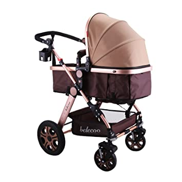 b50d204174307 Happybuy Luxe nouveau-né Poussette bébé pliable antichoc Poussette Landau  haute View Carrosse infantile Poussette