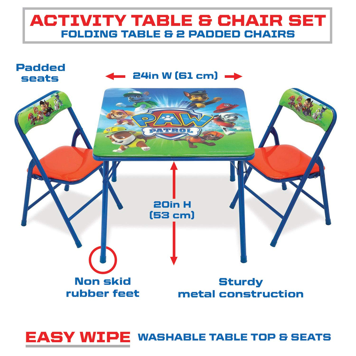 Wondrous Paw Patrol Activity Table Sets Folding Childrens Table Chair Set Includes 2 Kid Chairs With Non Skid Rubber Feet Padded Seats Sturdy Metal Creativecarmelina Interior Chair Design Creativecarmelinacom