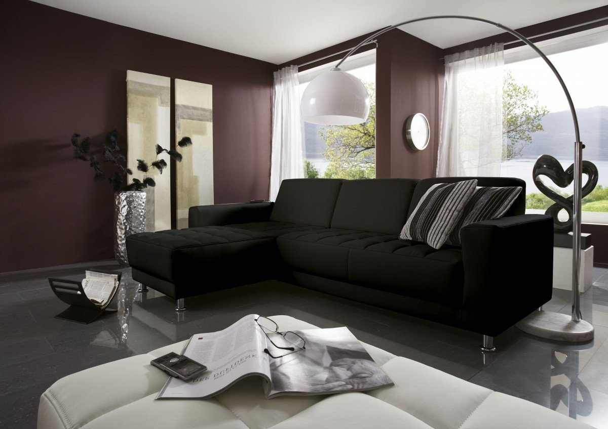 Dreams4Home Polstergarnitur 'Lugano', Polsterecke mit Recamiere links oder rechts, schwarz, Aufbauvariante:Recamiere links davorstehend