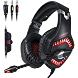 PS4 Headset,GEEKLIN gaming headset for pc gaming headset for xbox one controller with microphone,Rotatable ear shell,50mm super bass speakers,3.5mm Adapter for Laptop, Nintendo