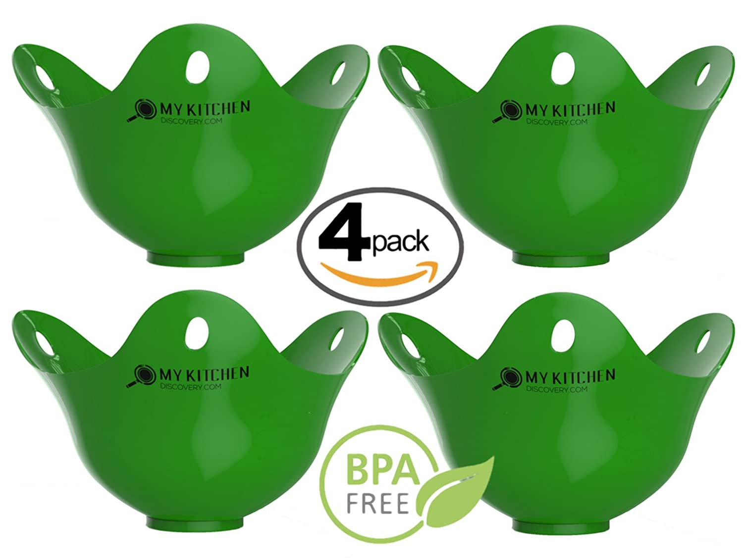 ... Premium Silicone Poaching Pods   BPA Free   FDA Approved   For Stovetop  Or Microwave   Dishwasher Safe   Set Of 4 Quality Green Pods: Kitchen U0026  Dining Part 68