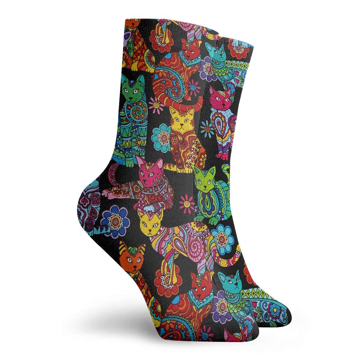 Colorful Cat Art Fashion Dress Socks Short Socks Leisure Travel 11.8 Inch