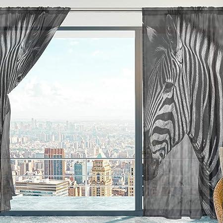 Mnsruu - Cortinas para Ventana (140 x 213 cm), diseño de Cebra: Amazon.es: Hogar