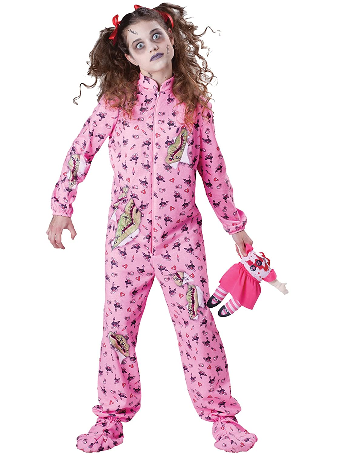 7c9c5e62e6ce Amazon.com  UHC Zombie Girl s Tween Outfit Scary Jumpsuit Doll Pajama Theme Halloween  Costume