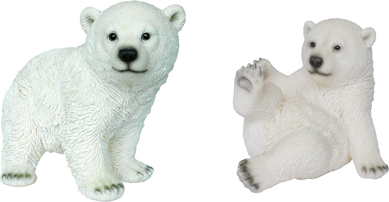 Set of 2 Playful Polar Bear Plant Pals Resin Home or Garden Decoration Vivid Arts XNF-PBPP
