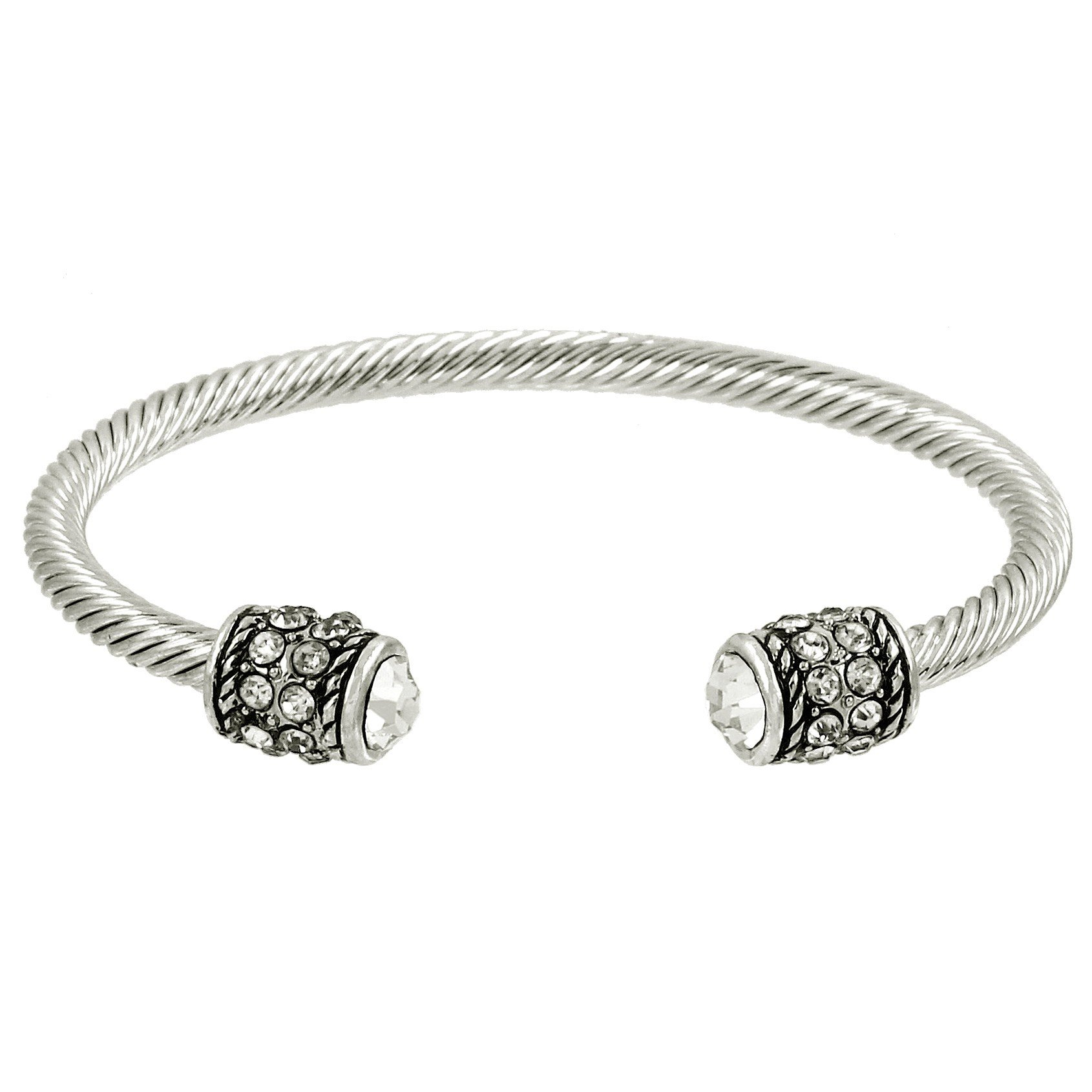 Crystal Silver Cable Wire Cuff Bracelet
