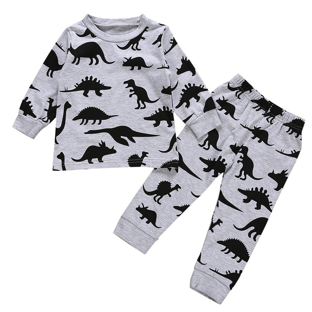 Muium Toddler Infant Baby Cartoon Animals Print Tops + Pants Clothes Outfits Long Sleeve Pajamas Sleepwear for 0-24 Months