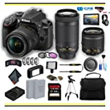 Nikon D3400 DSLR Camera with 18-55mm and 70-300mm Lenses (1573) Professional Bundle W/Bag, Extra Battery, LED Light, Mic, Filters, Tripod, Monitor and More