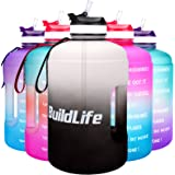 BuildLife Gallon Motivational Water Bottle Wide Mouth with Straw & Time Marked to Drink More Daily - BPA Free Reusable Gym Sp