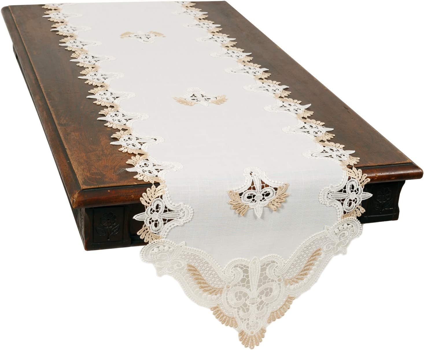 Xia Home Fashions Anais Elegant Lace Table Runner, 15''x70'', White